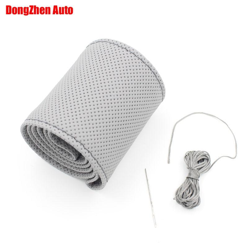 dongzhen автомобилей оптовая и DIY серый натуральная кожа крышки рулевого колеса с отверстием размер М крышка рулевого колеса