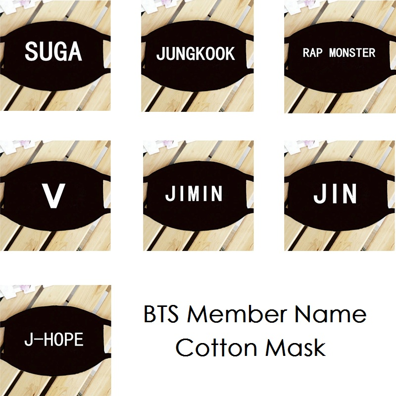 k pop KPOP BTS Bangtan Boys Member Name K-POP Dust Cotton Mouth-muffle Face Mask Dammskydd Maschere Antipolvere Masques youth