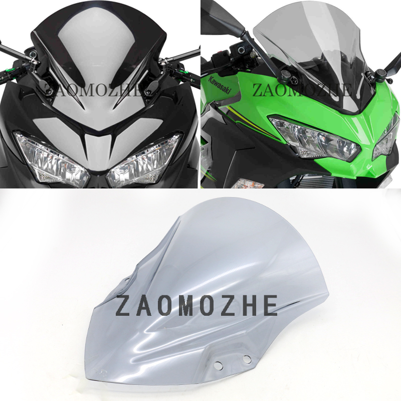 for Kawasaki <font><b>Ninja</b></font> <font><b>400</b></font> 2018-2019 Motorcycle High Quality PC Plastic <font><b>Windscreen</b></font> Windshield Baffle Wind Deflectors With bracket image
