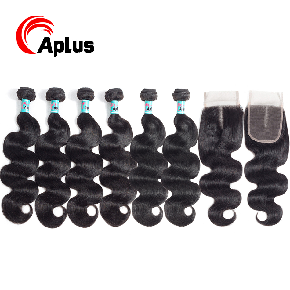 Aplus Hair Brazilian Hair Weave Bundles With Closure Natural Black Body Wave Hair 6 Bundles With Closure With Baby Hair Non Remy