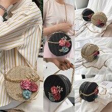 NoEnName Fashion Women Girls Round Circular Crossbody Bag Beach Straw Woven Bags Rattan Holiday Shoulder Handbag