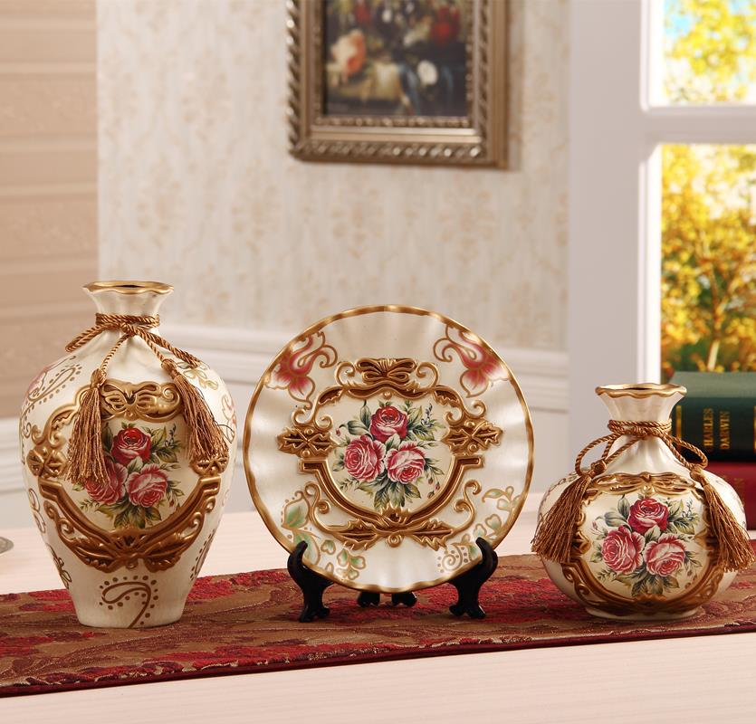 Three sets of luxury European style ceramic vase Home Furnishing jewelry ornaments Floral Wedding Gift room