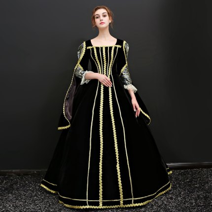 0657772115f36 black golden embroidery Cersei queen venice carnival queen ball gown  medieval dress Renaissance Gown Victoria/Antoinette