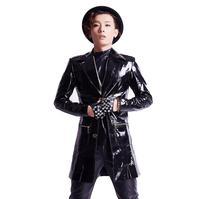 Ночной клуб DJ в Корейском стиле мужская одежда из лакированной кожи Куртки плюс Размеры пальто бар рок мужчины певица сценические костюмы Т