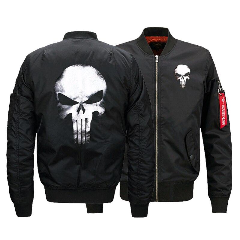 Ee.uu. tamaño de los hombres bombardero Chaquetas Punisher skulls impreso caliente cremallera vuelo chaqueta invierno espesar hombres Abrigos ropas de moda
