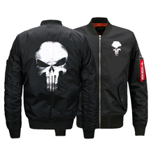 USA SIZE Men's Bomber Jackets Punisher Skulls Printed Warm Zipper FLIGHT JACKET Winter thicken Men Coats Fashion Clothings
