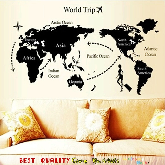 2 Size Cool World Map Wall Stickers Office Living Room Decorations