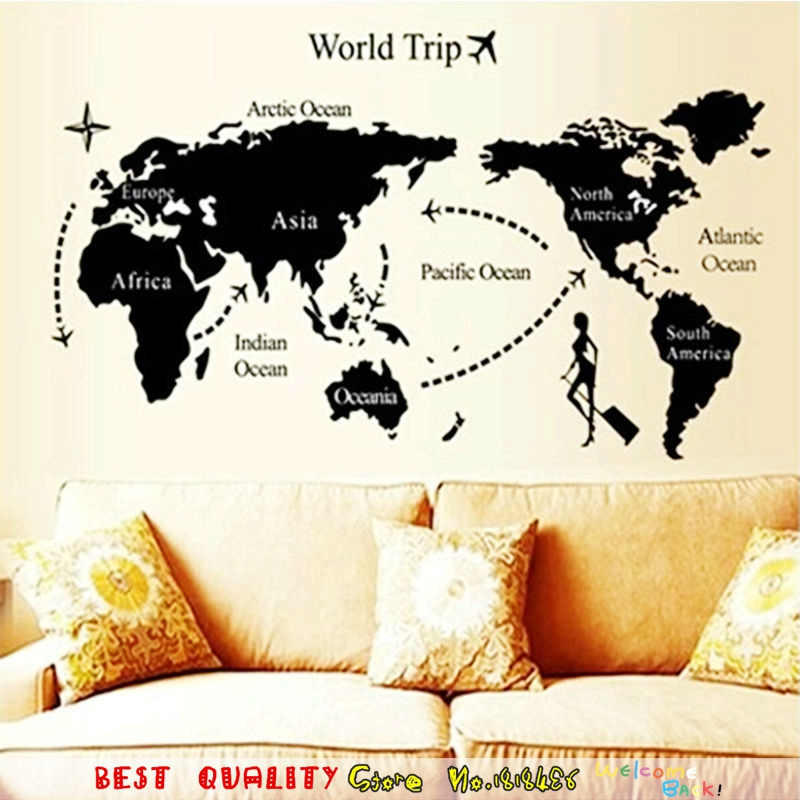 2 size cool world map wall stickers office living room decorations vinyl home decor waterproof removable