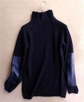 Коза кашемир сплошной толстой вязки женская мода Высокий воротник лоскутное рукав свитера пуловеры темно синие 2 вида цветов S 2XL