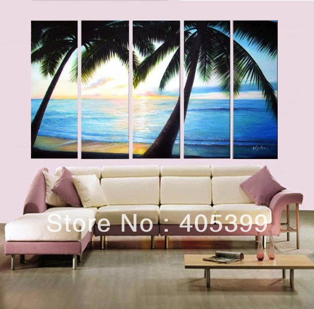 Hand-painted Oil Wall Art,Huge 5 Pcs/Set ,Modern Abstract Oil Painting On Canvas, The Palm Tree JYJLV258