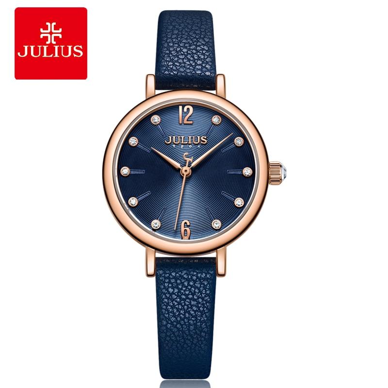 Julius Women's Watch For Small Wrist Ladies Top Quality Luxury Blue Wristwatches Japan Movement Waterproof Leather Clock JA-1077