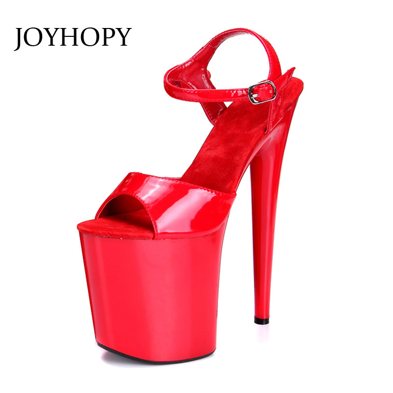JOYHOPY 20cm Heel Gladiator Sandals Women PU Leather Peep Toe Super High Heels Plus Size 34- 43 Party Stage Woman Platform Shoes