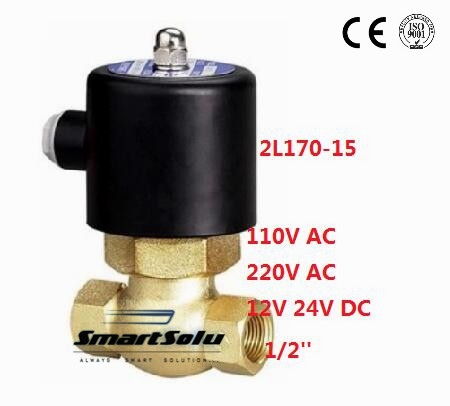 Free shipping 1/2'' Inch 2L170-15 High Pressure Brass Hot Water Steam Solenoid Valve Normally Closed (NC),PTFE oil seal 1 2bspt 2position 2way nc hi temp brass steam solenoid valve ptfe pilot