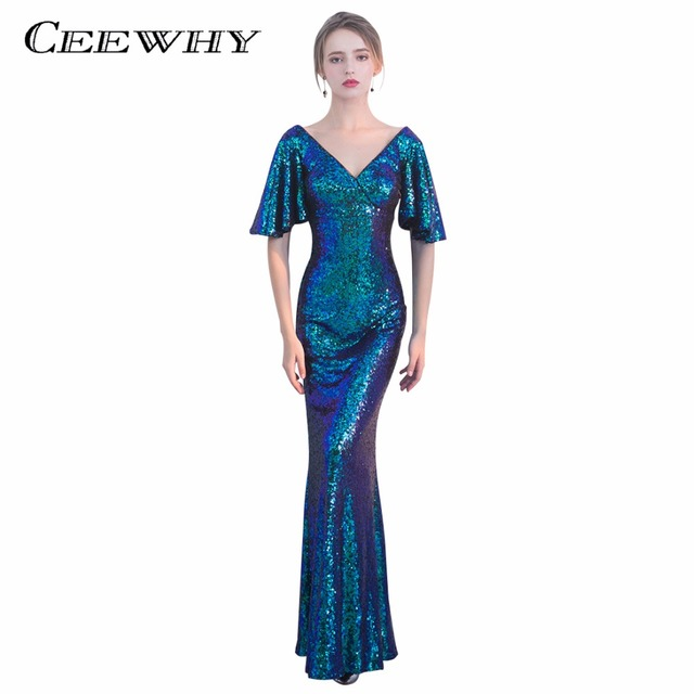 Ceewhy V Neck Sequined Formal Dress Ruffles Half Sleeve Evening