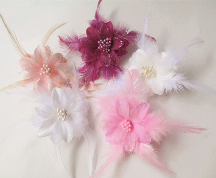 artificial flowers head DIY feather flower corsage brooch hair accessories