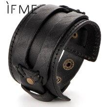 IF ME, модный мужской кожаный браслет, открытый, Кафф, веревка, Браслеты& браслет, двойной широкий, черный, коричневый цвет, Ретро стиль, панк, унисекс, ювелирное изделие