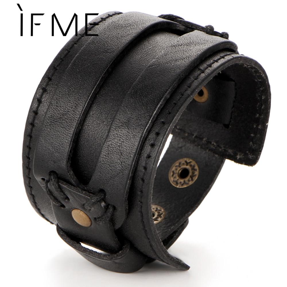 IF ME Fashion Men Leather Bracelet Open Cuff Rope Bangles & Bracelet Double Wide Black Brown Color Vintage Punk Unisex Jewelry