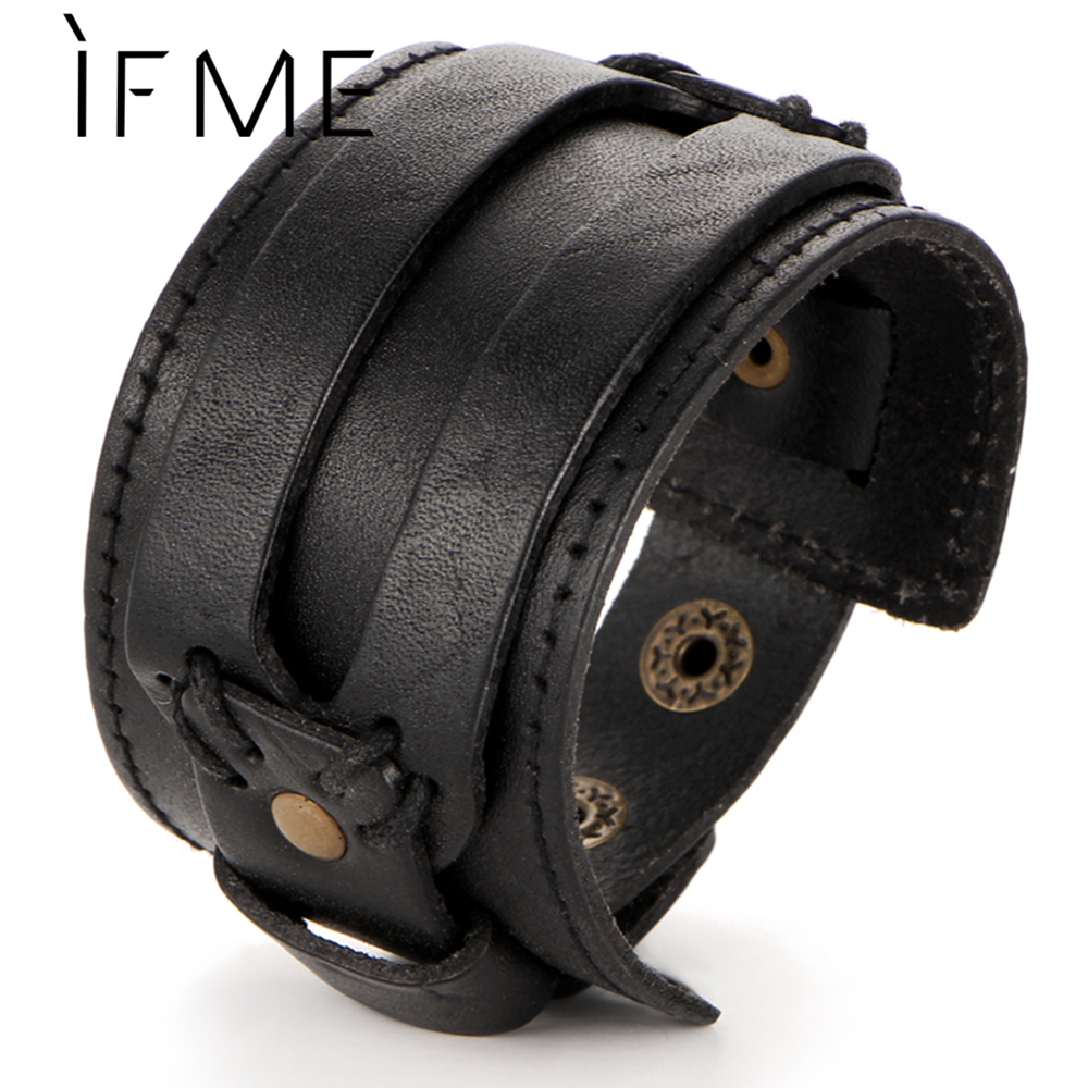 IF ME Fashion Men Leather Bracelet Open Cuff Rope Bangles & Bracelet Double Wide Black Brown Color Vintage Punk Unisex Jewelry image