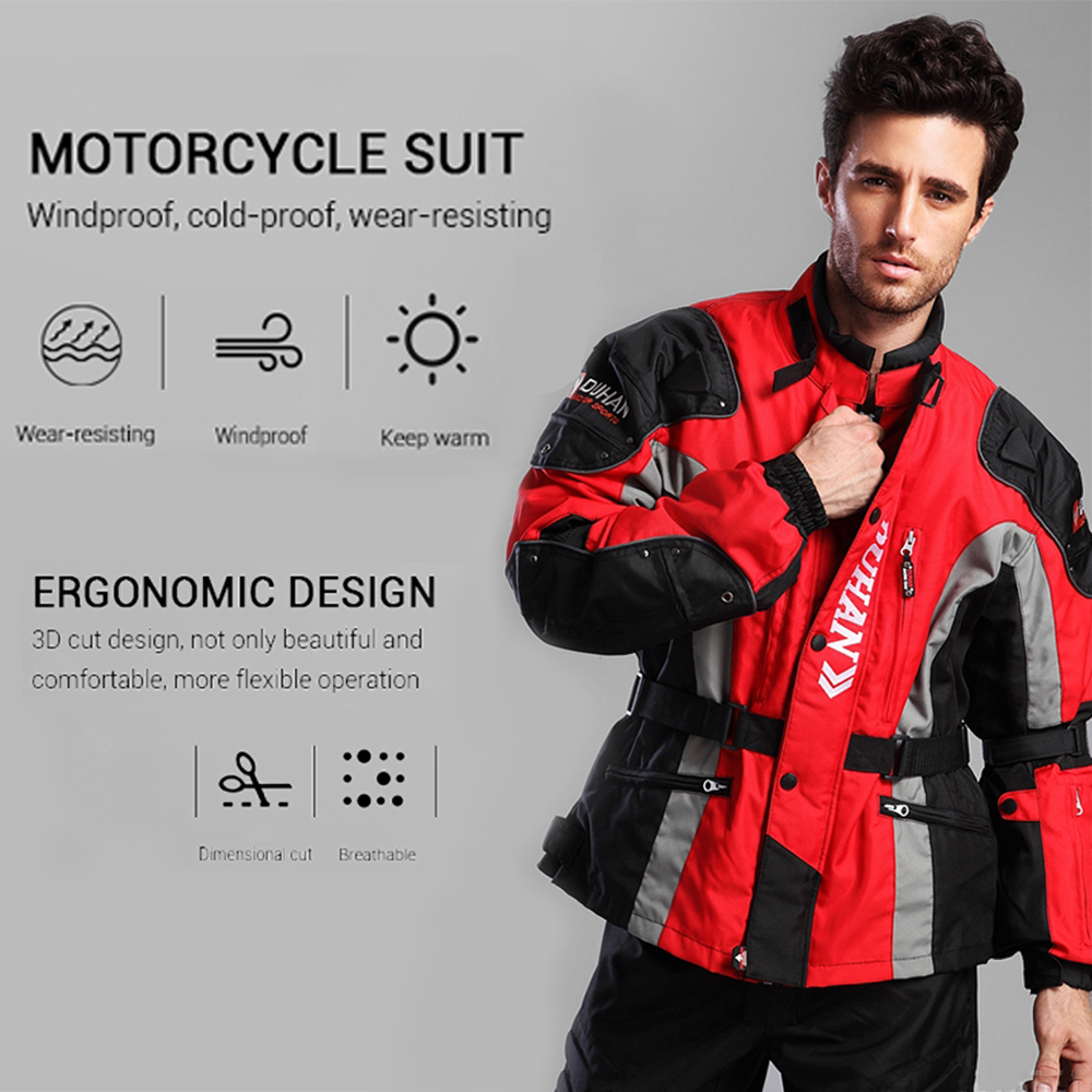 DUHAN automne hiver veste de Moto résistant au froid Moto + protecteur Moto pantalon Moto costume Touring vêtements ensemble de vêtements de protection - 5