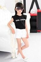 الأطفال الصيف فتاة قصيرة الأكمام مطوي قميص صغيرة تحلق كم إلكتروني الطباعة قصيرة الشيفون الاطفال الملابس
