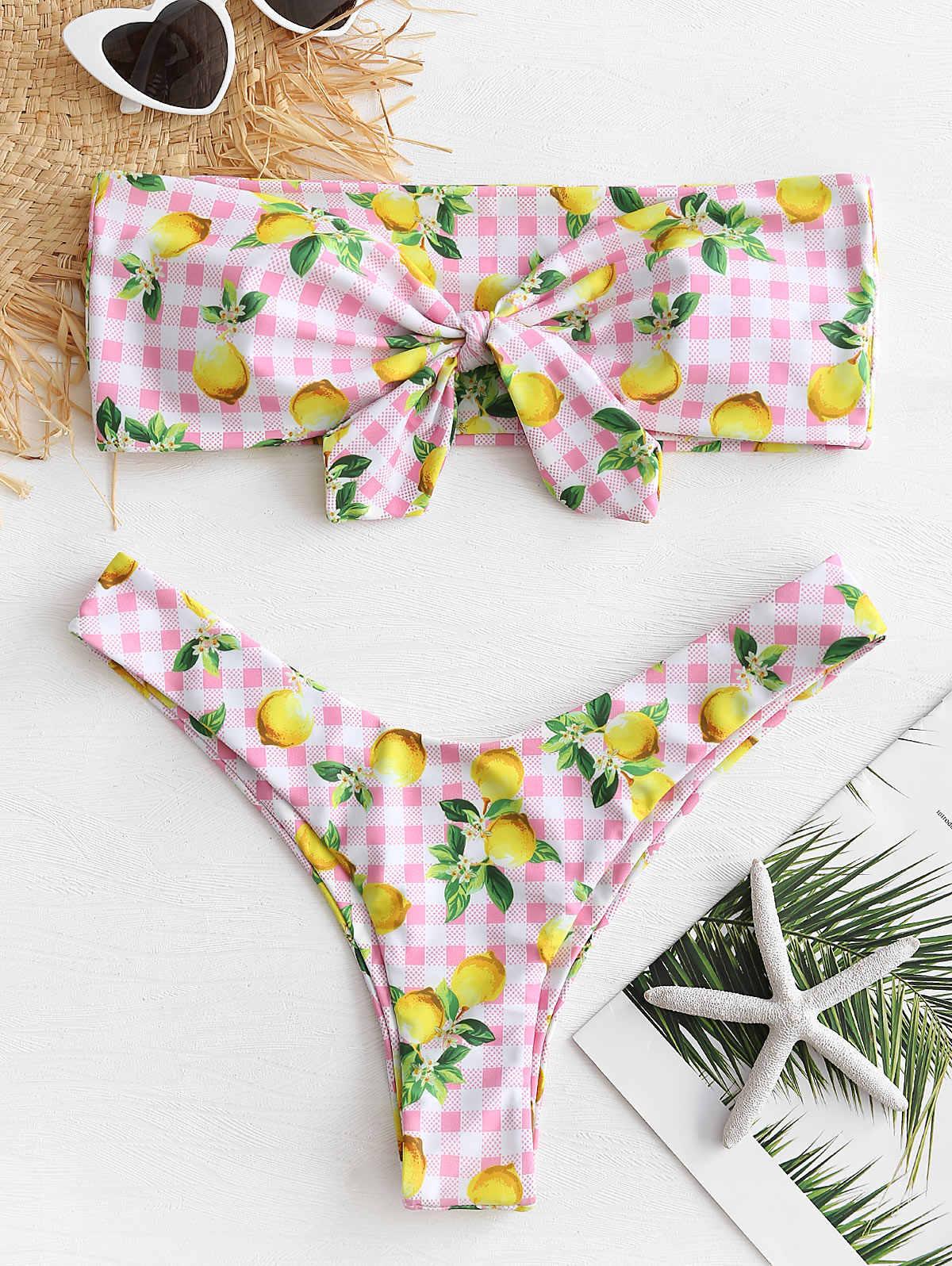 ZAFUL cytryny wiązane zestaw bikini bez ramiączek stroje kąpielowe kobiety Sexy Halter bez ramiączek z cytryny w paski wyściełane strój kąpielowy