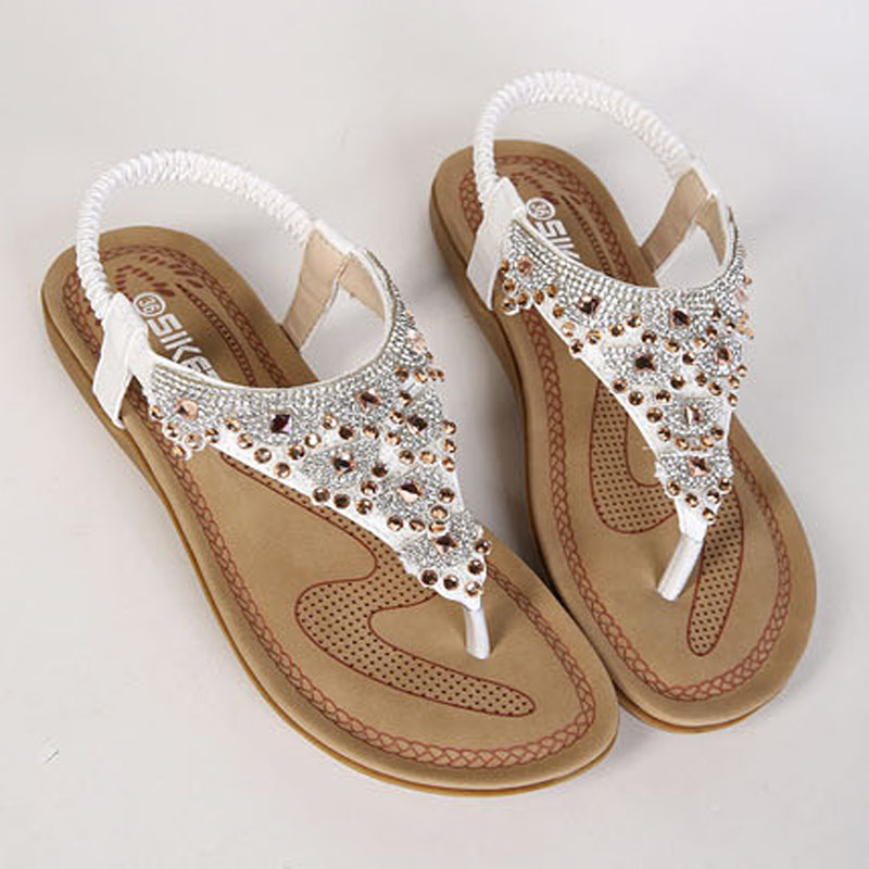 9e4c26f80cee7 Aliexpress.com   Buy 2018 Woman Sandals Shoes Crystal Bohemian Clip Toe  Comfortable Sandals Shoes Elastic Band Back Strap Flat Beach Shoes Plus  Size from .