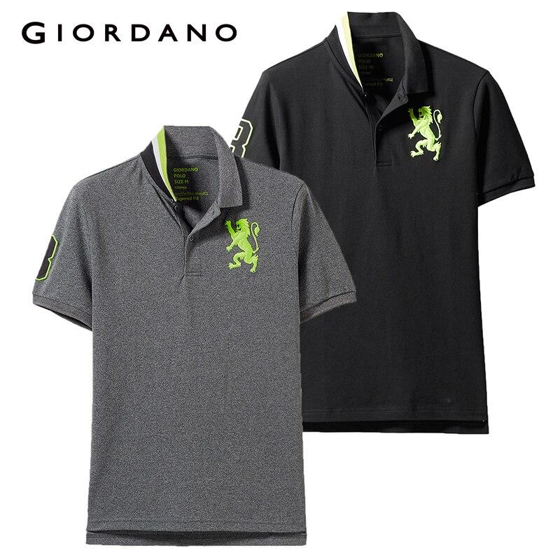 Giordano Homens da Camisa do Polo 2-Pacote Padrão de Bordado Dos Homens do Polo de Moda Elástico Manga Curta Polos Para Hombre Marca de Verão topos