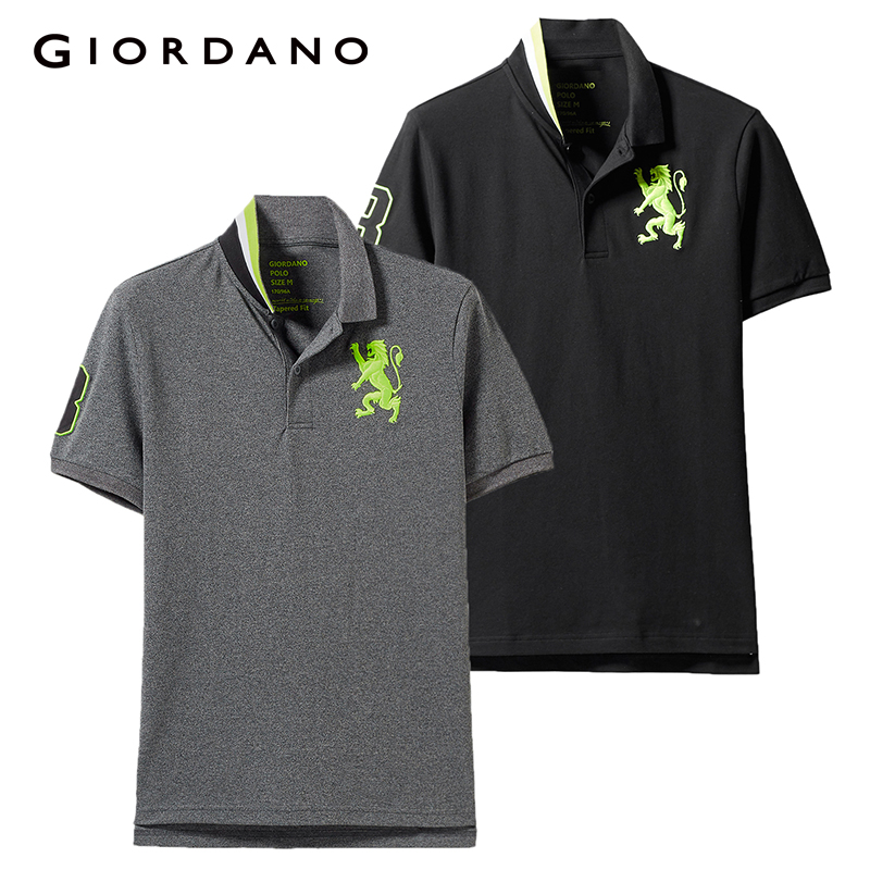Giordano Men   Polo   Shirt 2-Pack Embroidered Pattern Fashion   Polo   Men Stretchy Short Sleeve   Polos   Para Hombre Brand Summer Tops