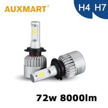 Auxmart 72w/set H7 H4 Car Headlight Kit Single Beam / High Low Beam COB Chips 12V 24V For HYUNDAI AUDI TOYOTA SKODA PEUGEOT BMW