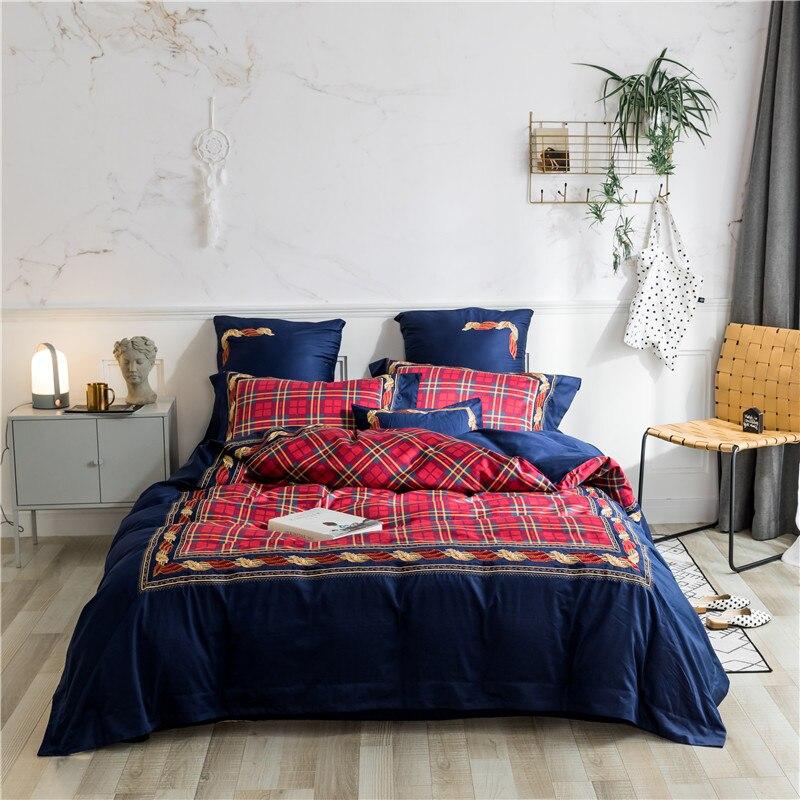 Chic Blue Beige Cotton Linen Plaid Curtains For Boys Bedroom: England Style Bedding Set Red Blue Plaid Duvet Cover Set