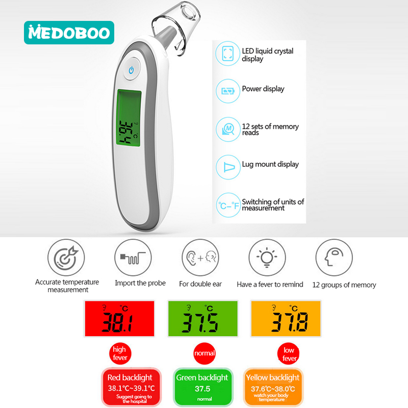 Medoboo Ear and Forehead Baby Thermometer Digital For Children Adults Medical Infrared LCD Non Contact Electronic Termometer 30 in Thermometers from Mother Kids