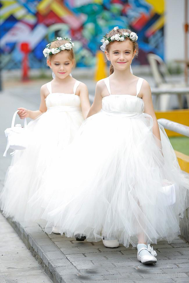 Long Flower Girls Dresses for Wedding White Holy First Communion Dresse Tulle Mother Daughter Dresses Long Beaded Pageant Dress цена 2017