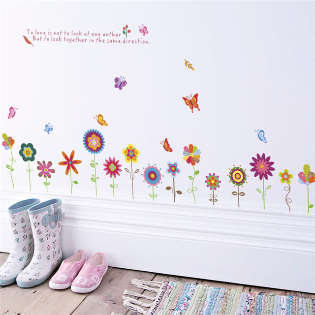 Colorful Flower Bee Butterfly Wall Stickers For Kids Rooms Bedroom Home  Decoration Cartoon Wall Decals Diy