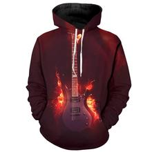 YOUTHUP Cool Guitar Printed Men's 3d Hoodies Fashion Full Printed Hooded Pullovers Male Autumn Spring 3D Hoodies Sweatshirt
