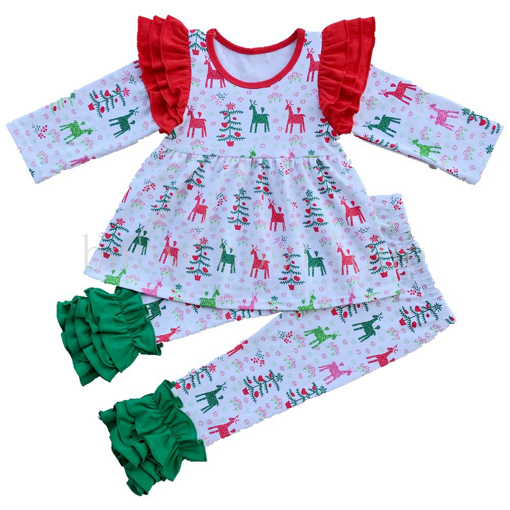 baby girls Xmas Party Deer Raglan clothing set