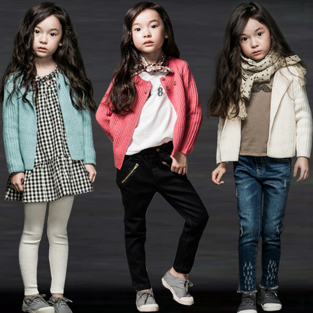 New Fashion 2017 Girls Cardigan Sweater Spring Children 100% Cotton Outerwear Sweaters Kids Knit Long Sleeve Top