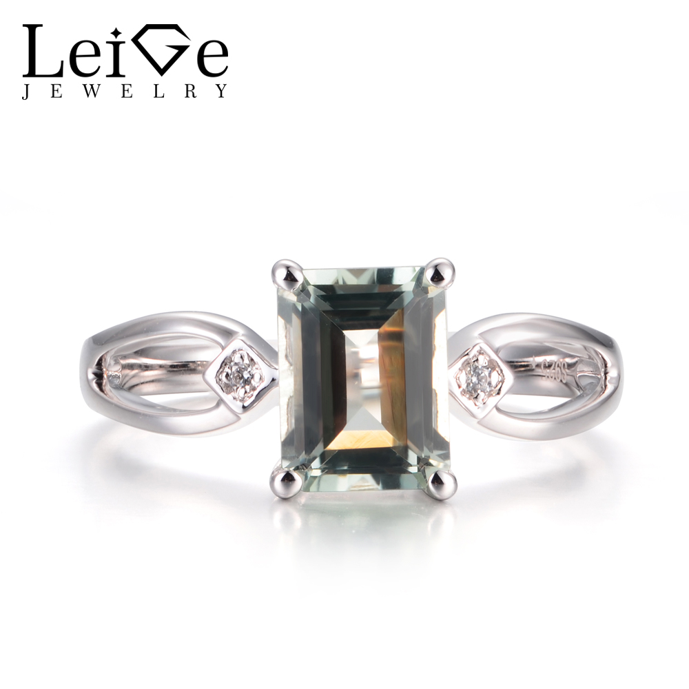 Leige Jewelry Natural Green Amethyst Rings Cocktail Rings Emerald Cut Green Stone Rings 925 Sterling Silver Elegant Rings Gifts недорого