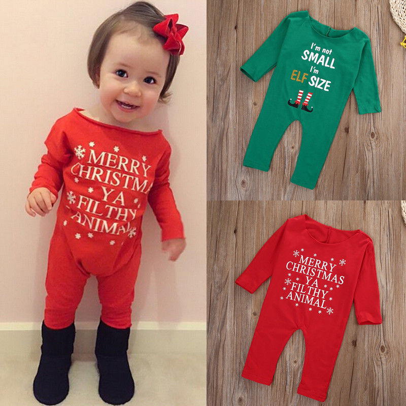 Xmas Newborn Infant Baby Girl Clothing Off Shoulder Romper Long Sleeve Suit Jumpsuit Baby Girls Outfits baby clothing summer infant newborn baby romper short sleeve girl boys jumpsuit new born baby clothes