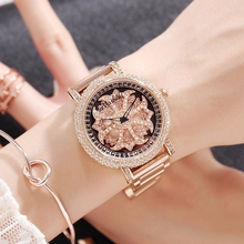 2017 New Women Watch Stainless Steel Watches Lady Shining Rotation Dress Watch Big Diamond Purple Wristwatches Lady Clocks hours