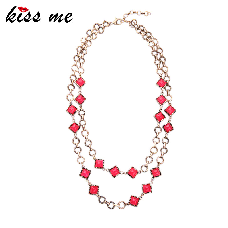 Summer Alloy Chain Candy Color Removable Layered Necklace New Design Vintage Jewelry Choker Necklace