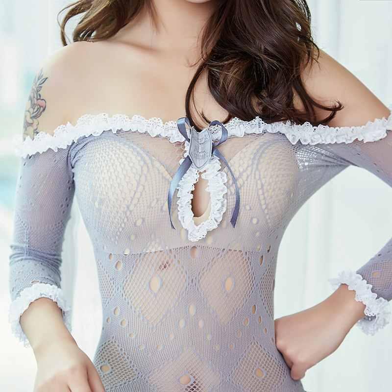 Lencería erótica Cosplay uniforme de sirvienta sexual Lencería de manga larga de encaje ropa interior mujer Sexy enfermera disfraces Babydoll vestido transparente