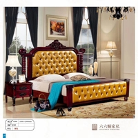 modern european solid wood bed Fashion Carved 1.8 m bed french bedroom furniture American style bed LLS833