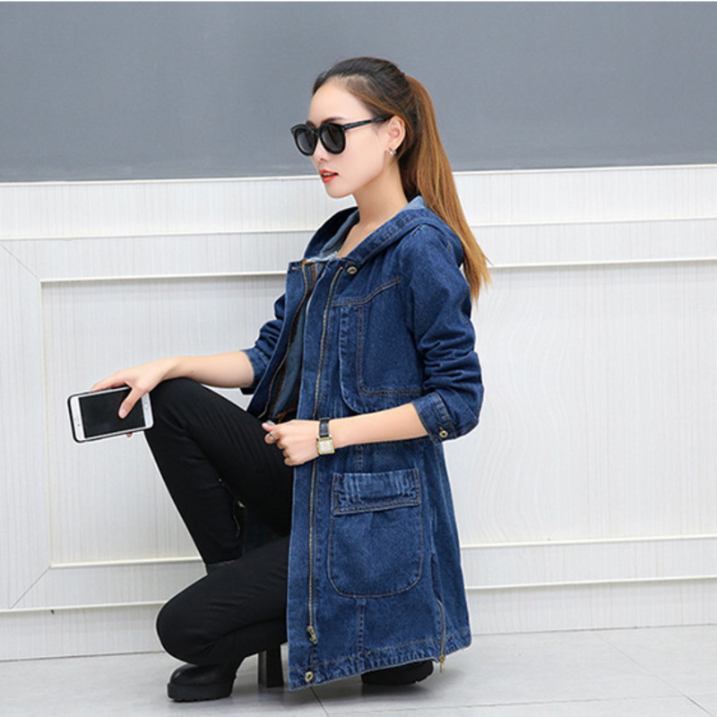 #3311 Long Denim Jacket Hooded Loose Coat Korean Fashion Long Sleeve Jeans Jacket Women Big Pockets Plus Size Long Coat Female