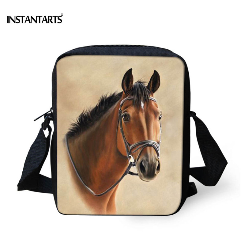 INSTANTARTS Preppy Style Kindergarten Baby Small School Bags Kids Animal Horse Head Print Schoolbag Children Mochilas Infantil