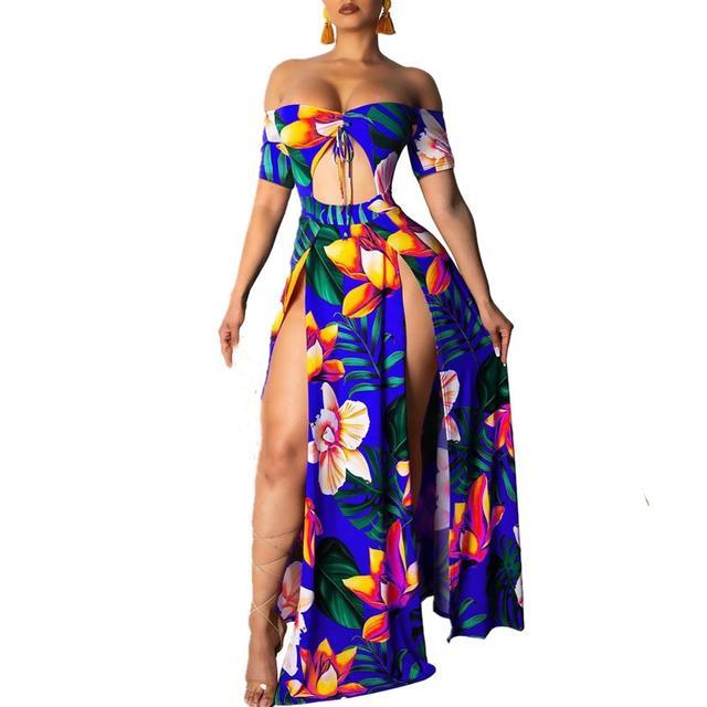 Sexy Women Boho Summer Short Sleeves Tube top prints Dress Halter Neck Maxi Long Dress Backless Party Dresses Women beach dress