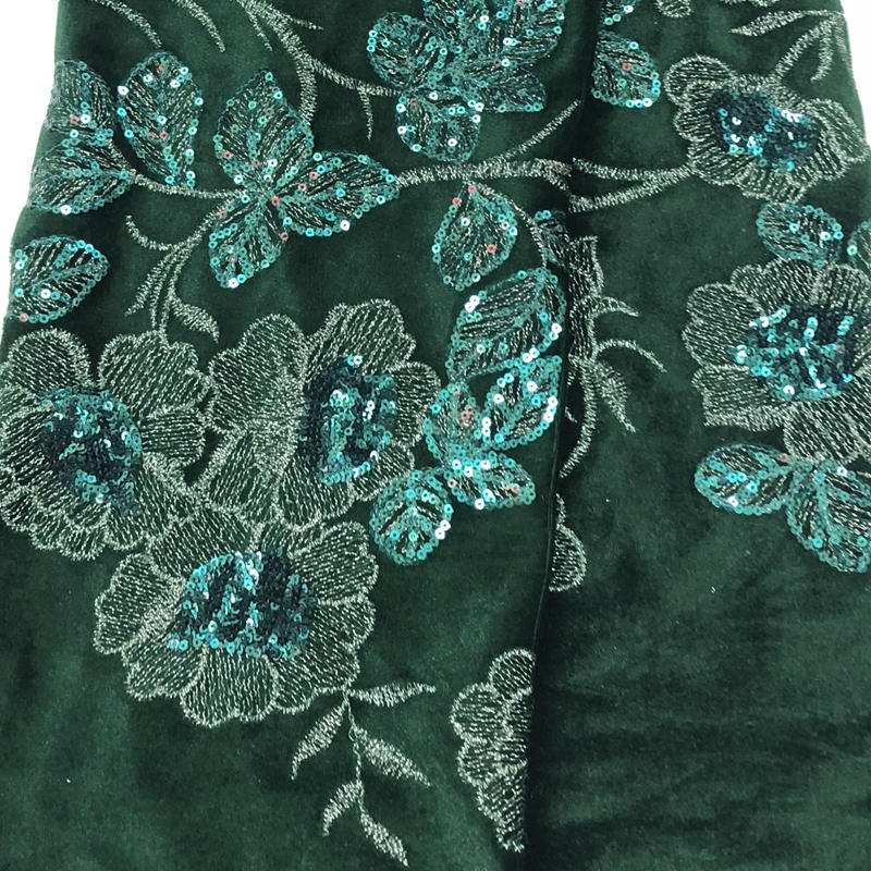 Fashionable green African lace fabric shining sequins embroidered African velvet lace fabric For Party dresses QE638