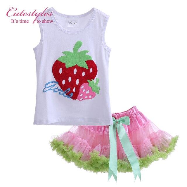 1394f2346 Cutestyles New Style Girls Tutu Dresses Set 2 PCS Baby Girl Clothes Set  Strawberry T Shirt + Fluffy Dress Kid Outfit TC30721-5
