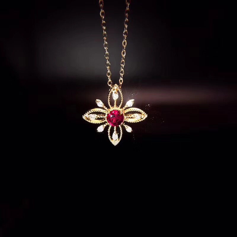 ANI 18K Rose Gold Pendant Necklace Ruby Fine Color Gemstone Jewelry Natural Diamond Snow Shape Fashion Women Engagement Necklace fashion candy color faux gemstone pendant alloy necklace for women