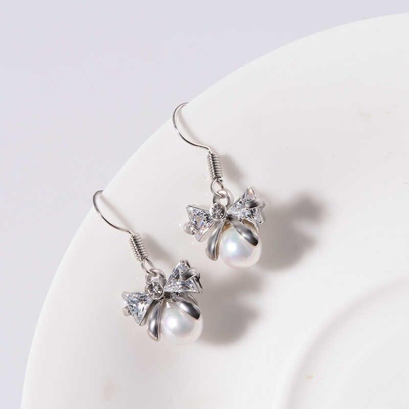 XZP Premium moda 1 par de pendientes de mujer señora encantadora CZ perla oreja gota lindo Rosa Bowknot pendiente mujer joyería regalo bijoux