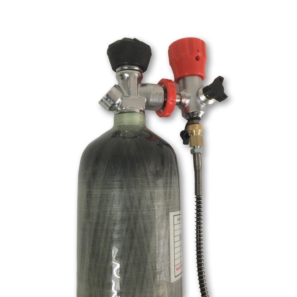 Acecare New diving serbatoio 30Mpa 3L bottiglia serbatoio in fibra di carbonio CE certificato per la pcp 4500psi aria cilindro e della valvola e valvola di stazione di riempimento-K
